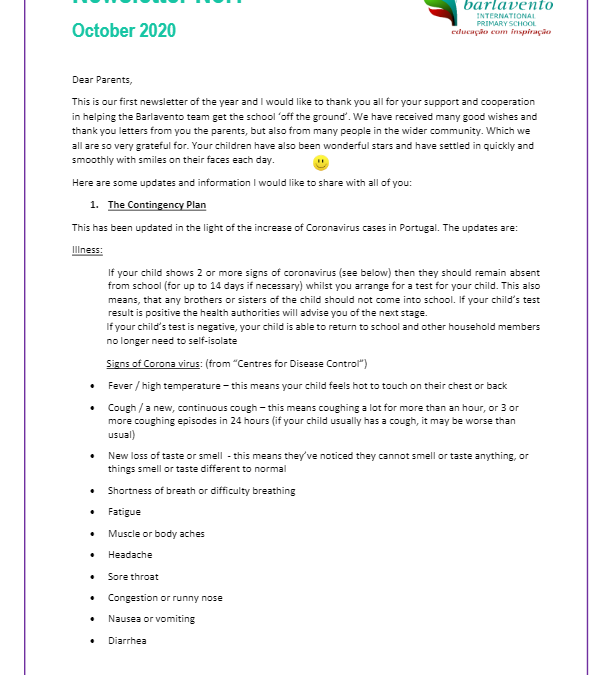 Newsletter No. 1 October 2020