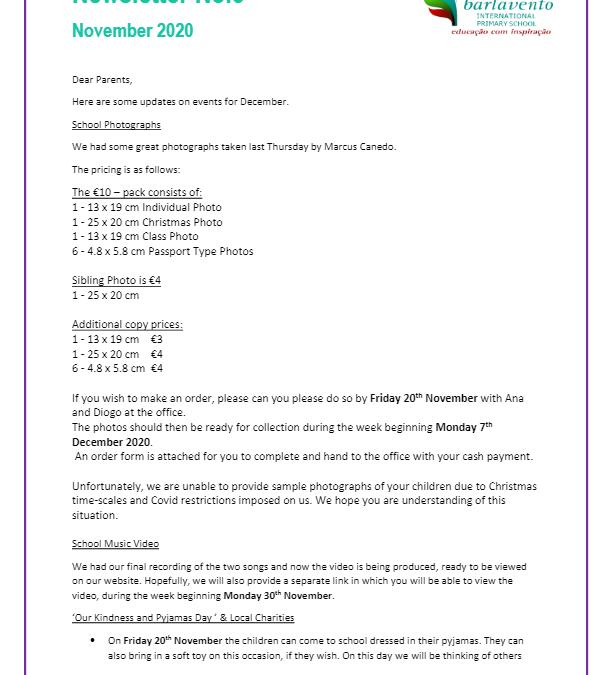 Newsletter No. 3 November 2020
