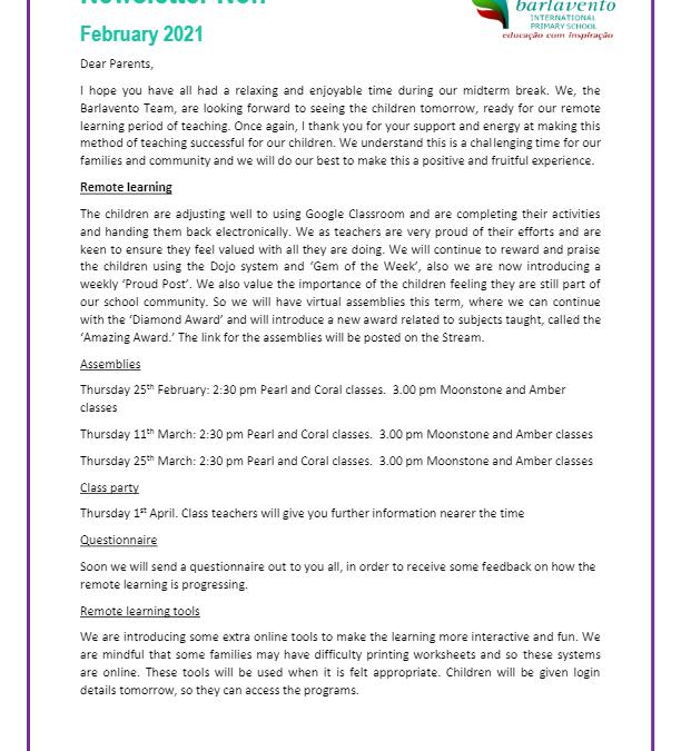 Newsletter No. 7 February 2021