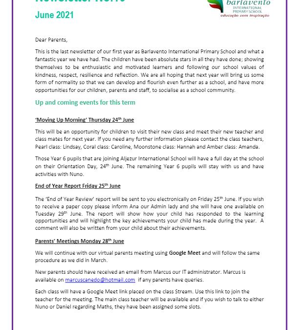 Newsletter No. 10 June 2021