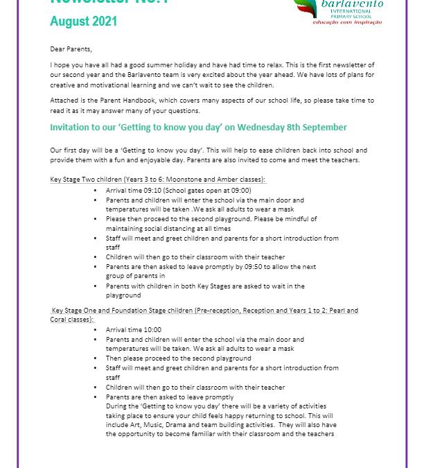 Newsletter No. 1 August 2021